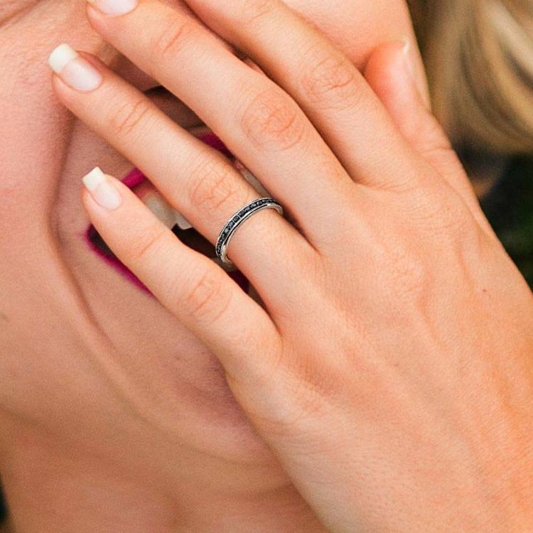 Channel Set Black Diamond Eternity Ring In White Gold | 04