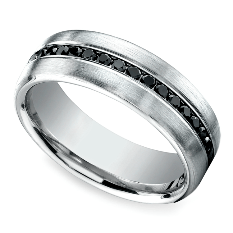 Channel Black Diamond Mens Wedding Ring in Platinum
