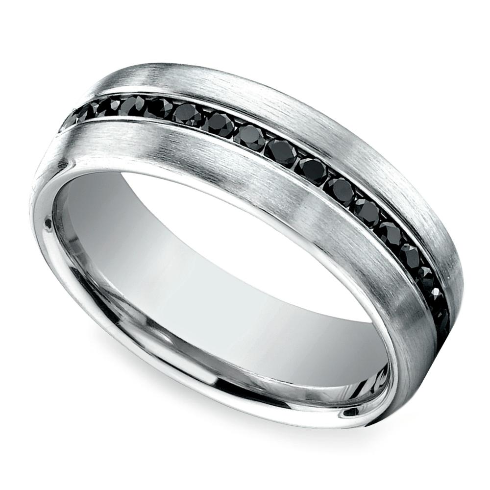channel black diamond mens wedding ring in white gold - Mens Wedding Rings White Gold