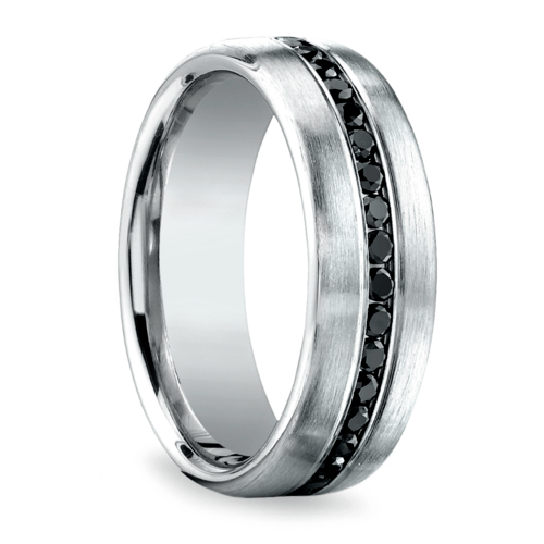 channel black diamond mens wedding ring in white gold - Mens Black Diamond Wedding Ring