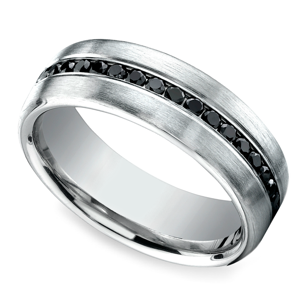 channel black diamond mens wedding ring in white gold