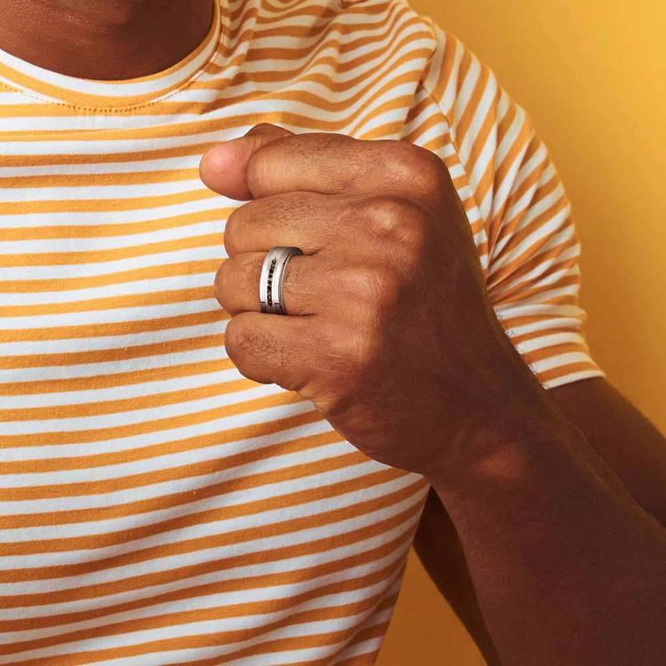 Men's Black Diamond Channel Wedding Ring in Tungsten | 04