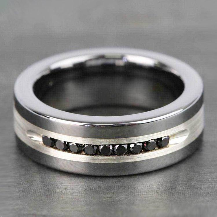 Men's Black Diamond Channel Wedding Ring in Tungsten | 05