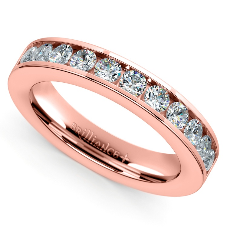 Channel Diamond Wedding Ring in Rose Gold (1/2 ctw) | 01