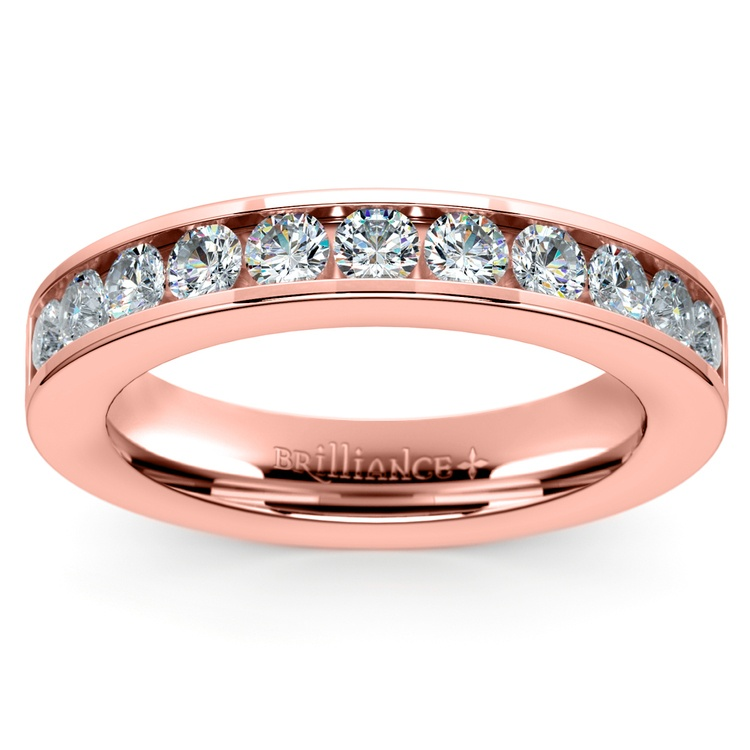 Channel Diamond Wedding Ring in Rose Gold (1/2 ctw) | 02