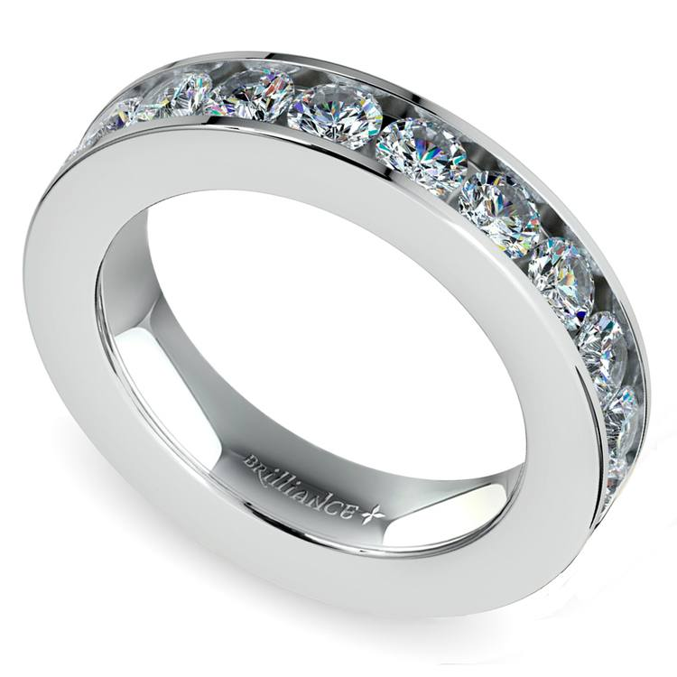 Channel Diamond Wedding Ring in White Gold (1 ctw) | 01