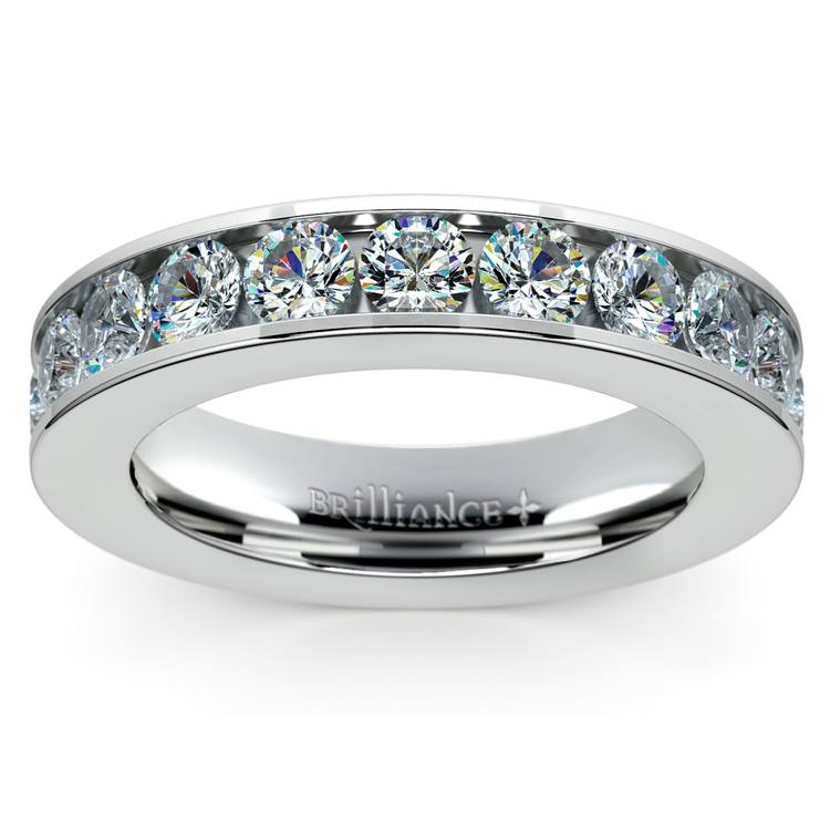 Channel Diamond Wedding Ring in White Gold (1 ctw) | 02