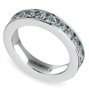 Channel Diamond Wedding Ring in White Gold (3/4 ctw)
