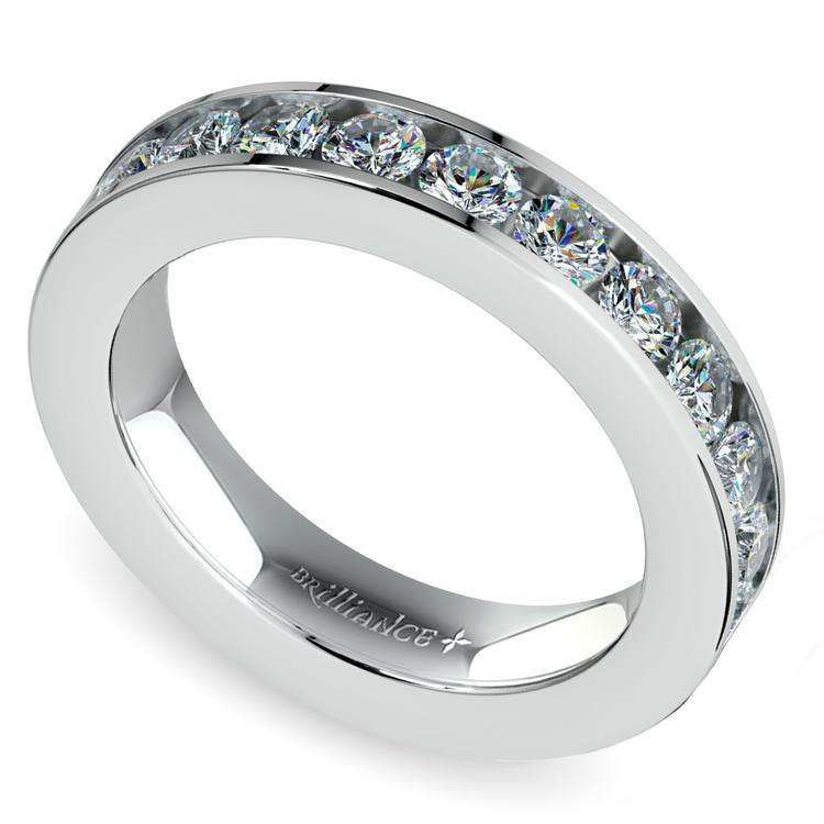 Channel Diamond Wedding Ring in White Gold (3/4 ctw) | 01