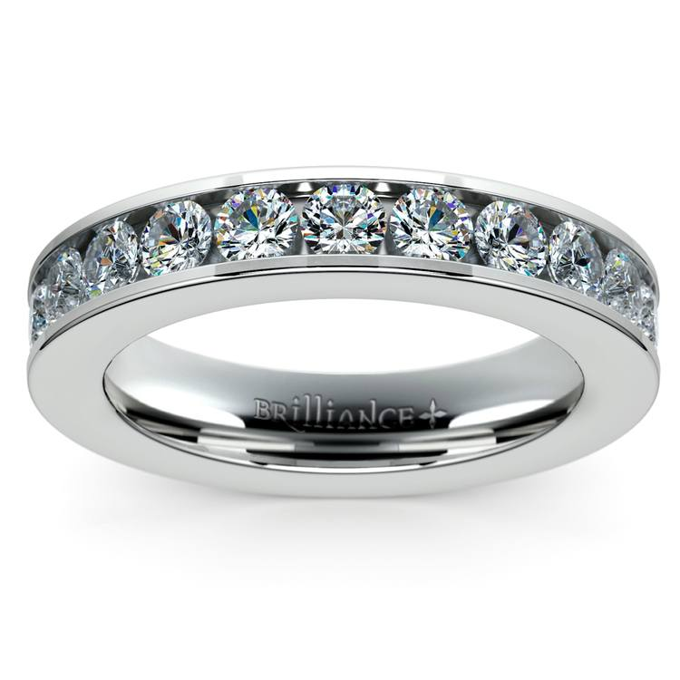 Channel Diamond Wedding Ring in White Gold (3/4 ctw) | 02