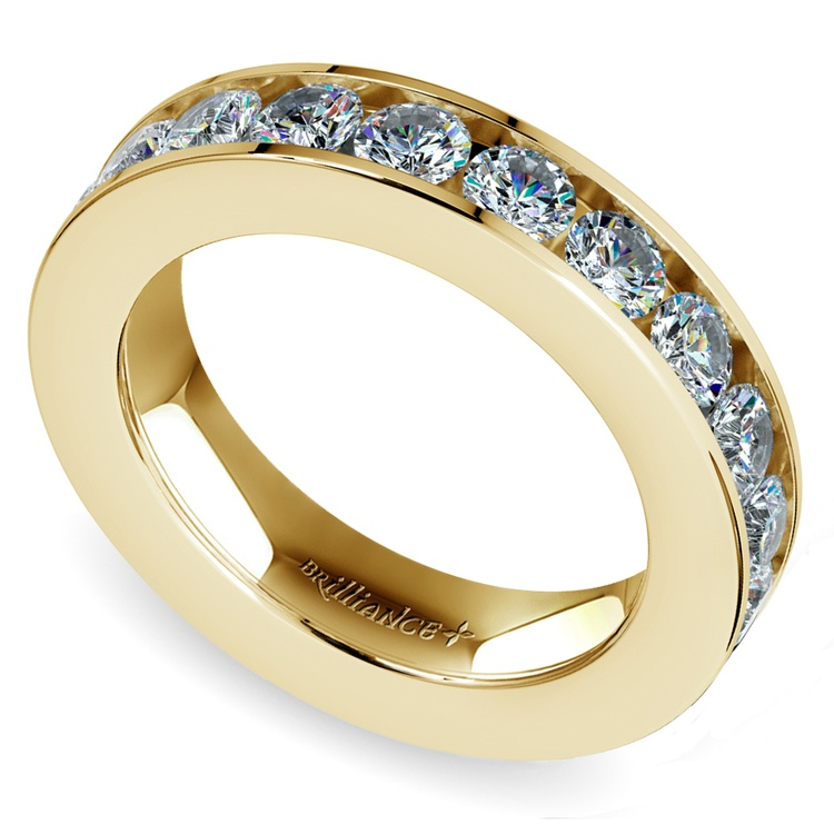 Channel Diamond Wedding Ring in Yellow Gold (1 ctw) | 01