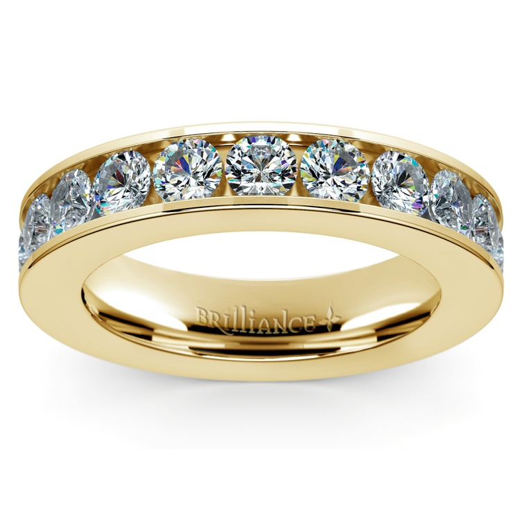 Channel Diamond Wedding Ring in Yellow Gold (1 ctw) | 02