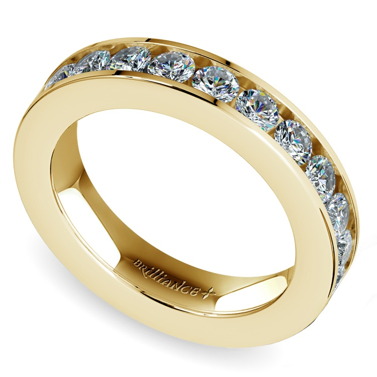 Channel Diamond Wedding Ring in Yellow Gold (3/4 ctw) | 01