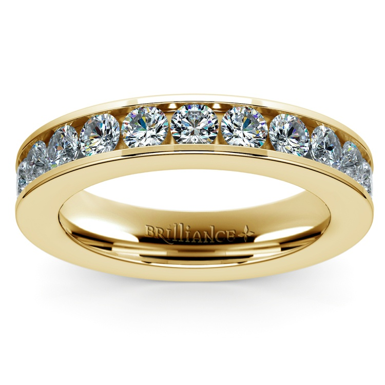 Channel Diamond Wedding Ring in Yellow Gold (3/4 ctw) | 02