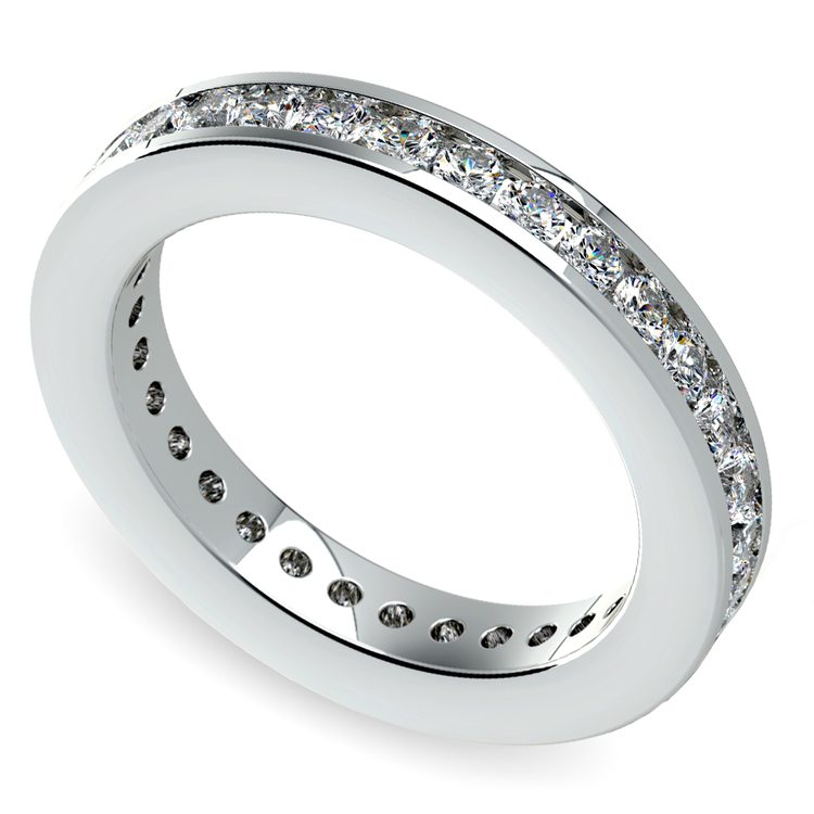 Channel Diamond Eternity Ring in White Gold (1 ctw) | 01