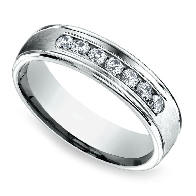 Channel Diamond Men's Wedding Ring in Palladium (6mm) | 01