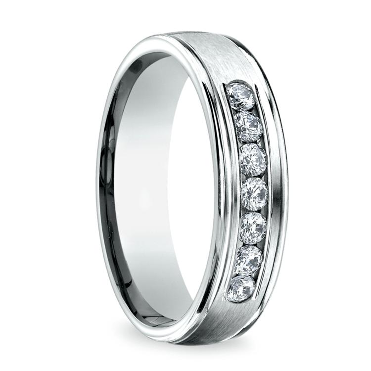Channel Diamond Men's Wedding Ring in Palladium (6mm) | 02