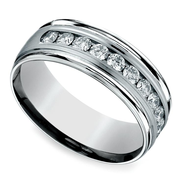 Channel Diamond Men's Wedding Ring in Palladium (8mm) | 01