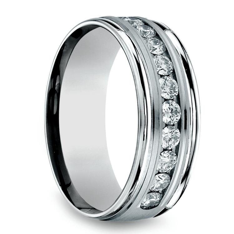Channel Diamond Men's Wedding Ring in Palladium (8mm) | 02