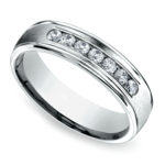 Channel Diamond Men's Wedding Ring in White Gold (6mm) | Thumbnail 01