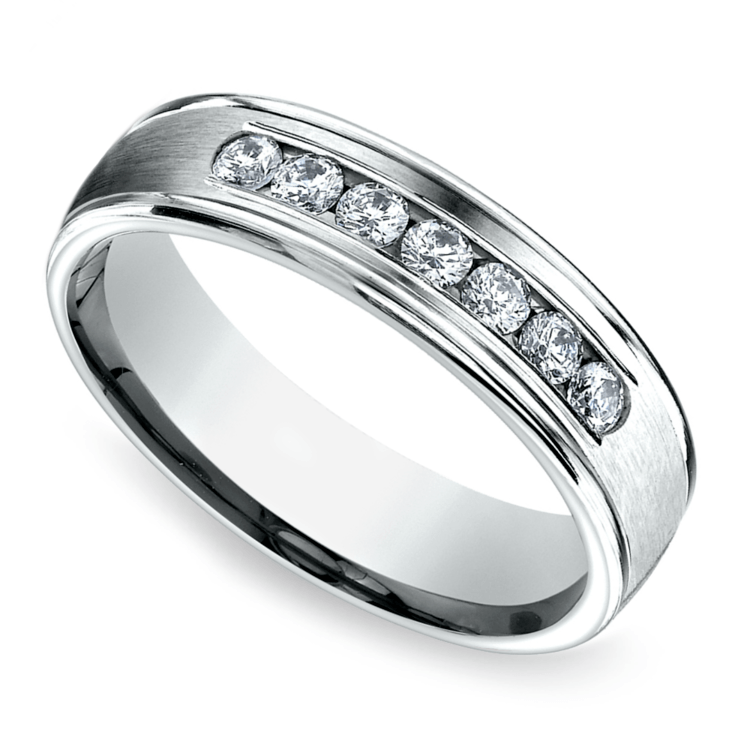 Channel Diamond Men's Wedding Ring in White Gold (6mm) | 01