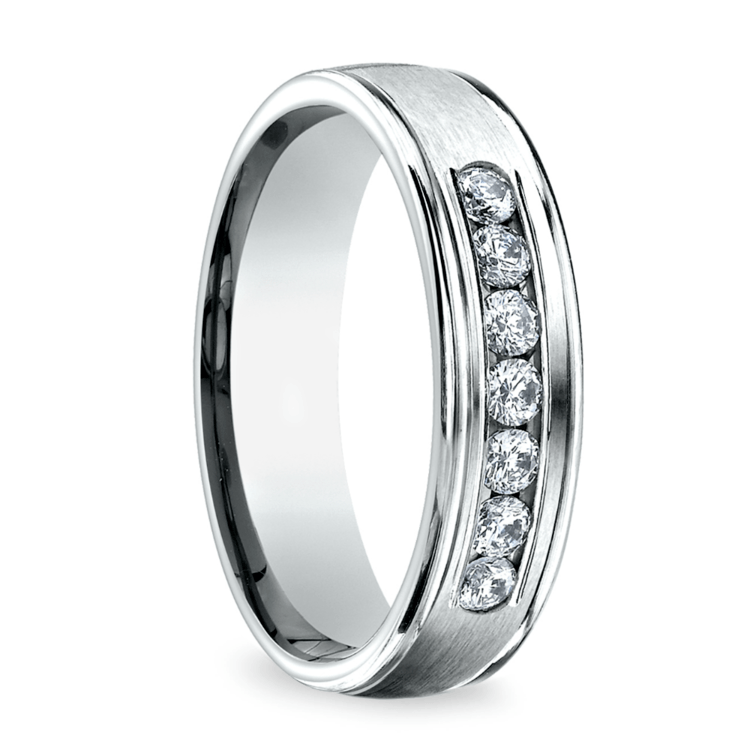 Channel Diamond Men's Wedding Ring in White Gold (6mm) | 02