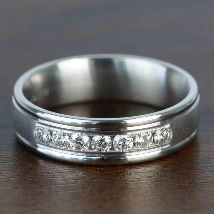 Channel Diamond Men's Wedding Ring in White Gold (6mm) | 05