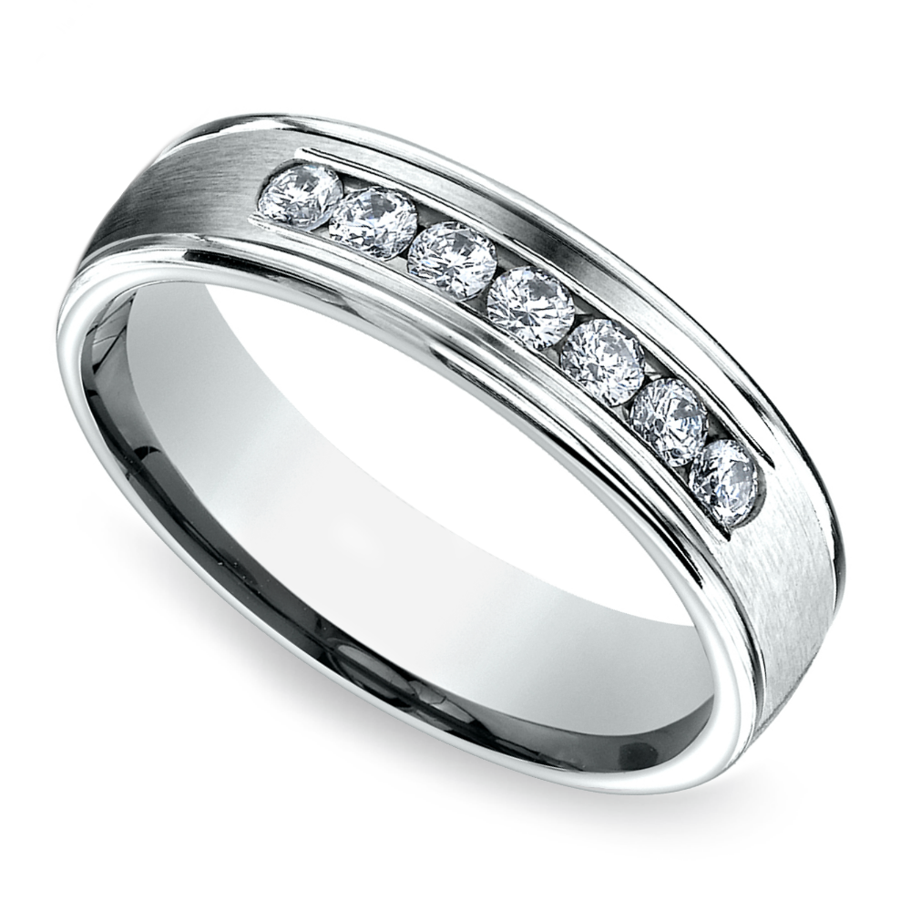 Channel Diamond Mens Wedding Ring in White Gold 6mm
