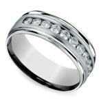 Channel Diamond Men's Wedding Ring in White Gold (8mm) | Thumbnail 01