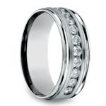 Channel Diamond Men's Wedding Ring in White Gold (8mm) | Thumbnail 02