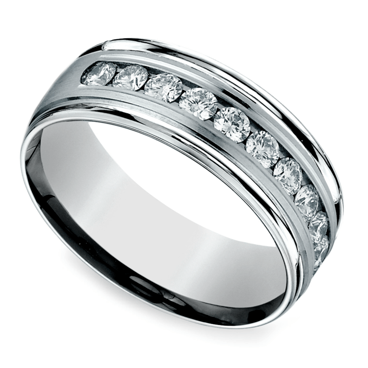 Channel Diamond Men's Wedding Ring in White Gold (8mm) | Zoom