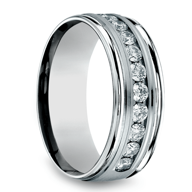 Channel Diamond Men's Wedding Ring in White Gold (8mm) | 02