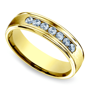 Channel Diamond Men's Wedding Ring in Yellow Gold (6mm)
