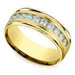 Channel Diamond Men's Wedding Ring in Yellow Gold (8mm) | Thumbnail 01