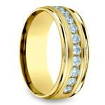 Channel Diamond Men's Wedding Ring in Yellow Gold (8mm) | Thumbnail 02