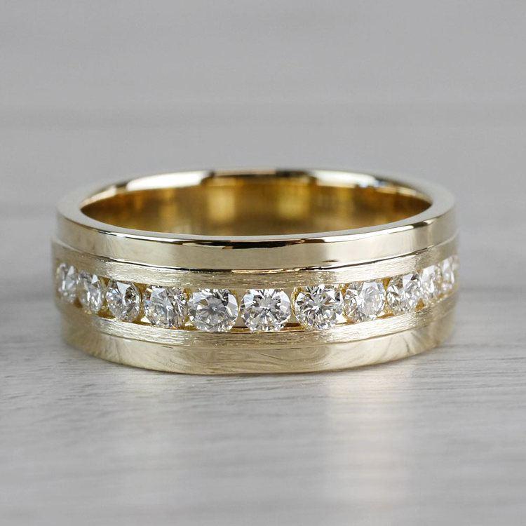 Channel Diamond Men's Wedding Ring in Yellow Gold (8mm)   03