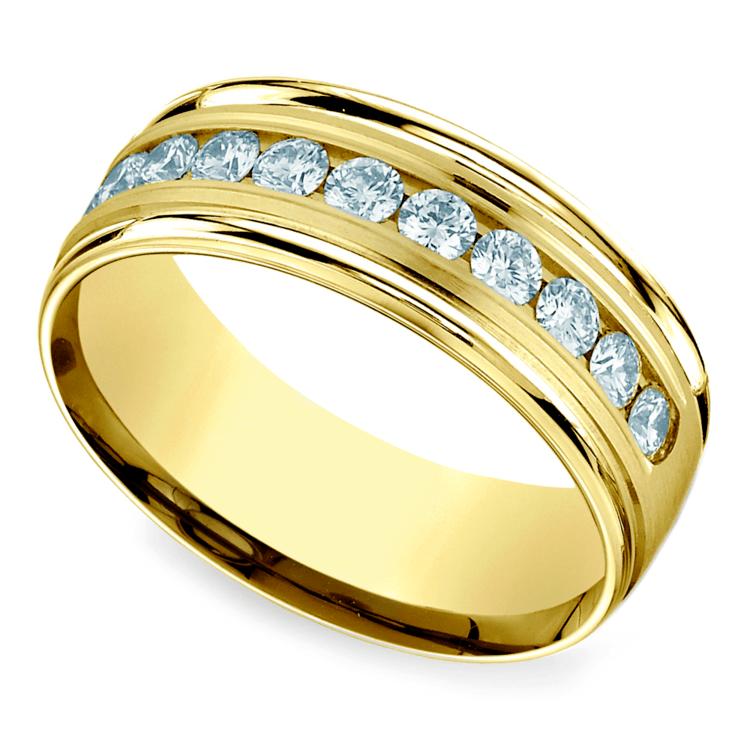 Channel Diamond Men's Wedding Ring in Yellow Gold (8mm) | 01