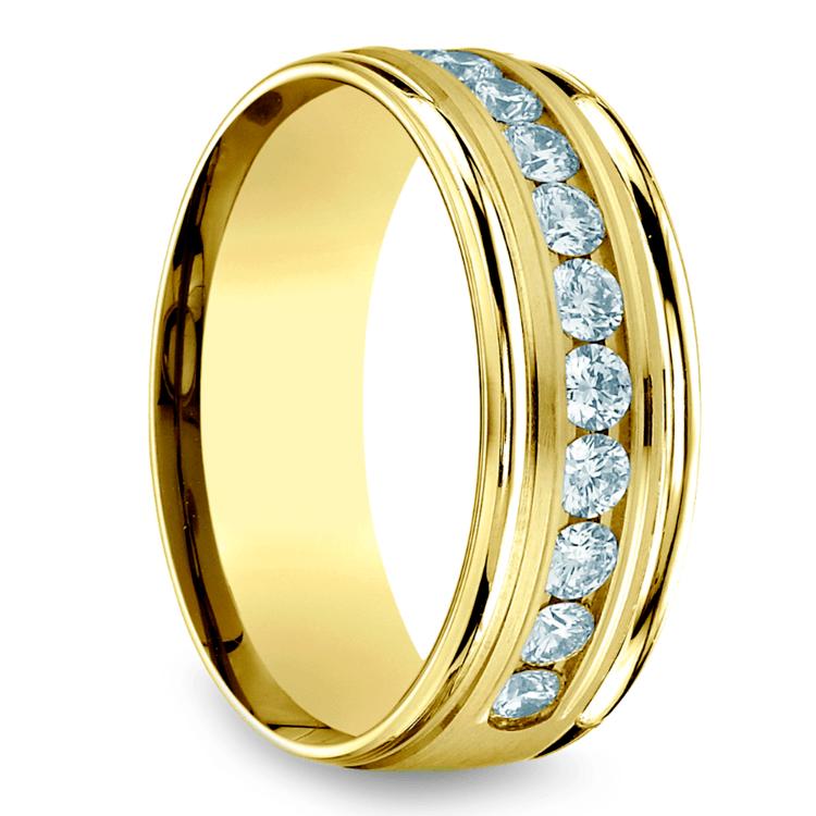 Channel Diamond Men's Wedding Ring in Yellow Gold (8mm) | 02