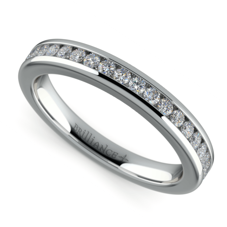 Channel Diamond Wedding Ring in White Gold | 01