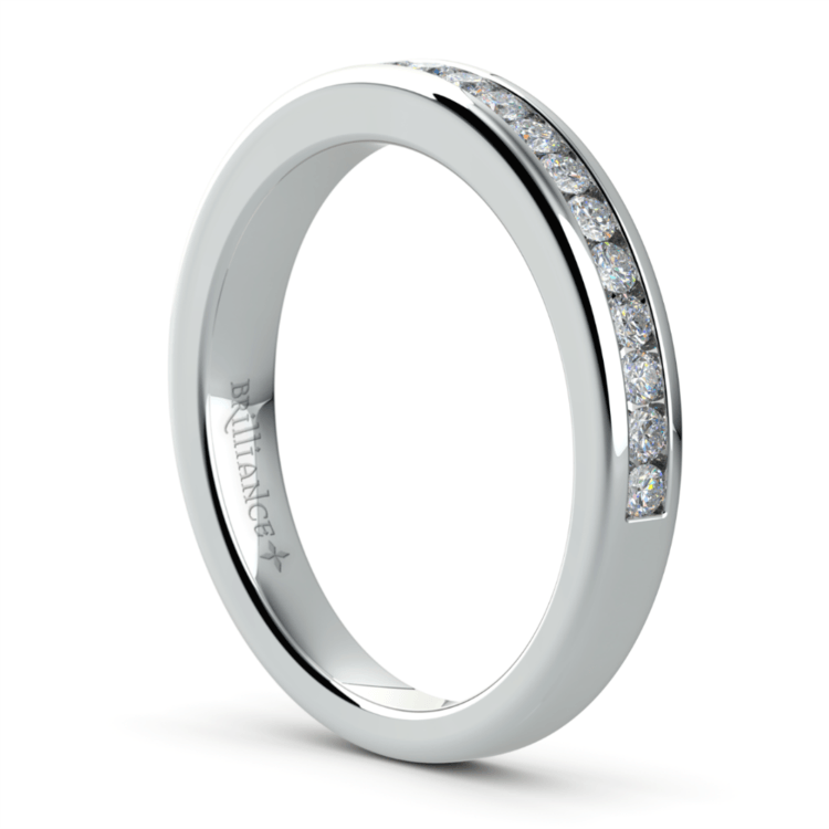 Channel Diamond Wedding Ring in White Gold | 04