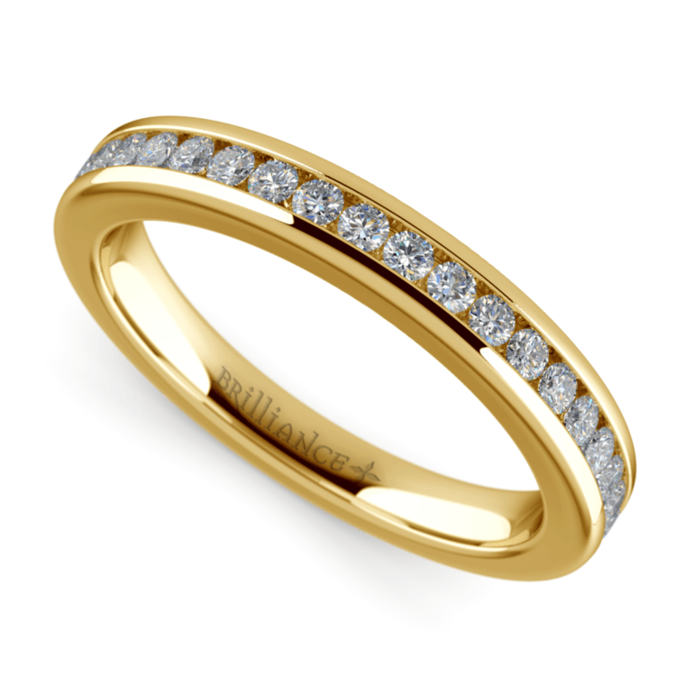 Channel Diamond Wedding Ring in Yellow Gold | 01