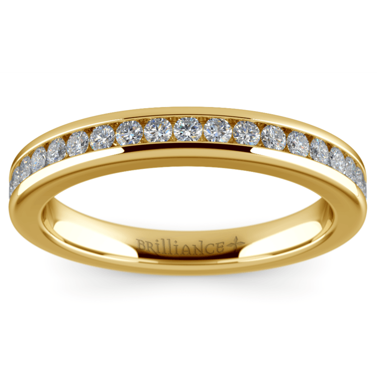 Channel Diamond Wedding Ring in Yellow Gold | 02
