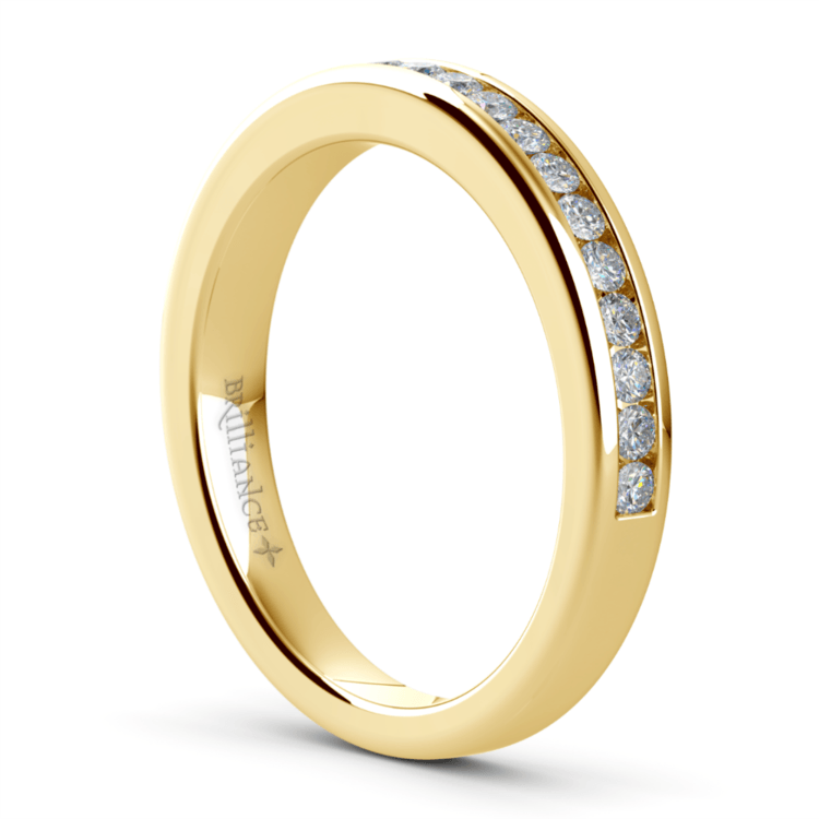 Channel Diamond Wedding Ring in Yellow Gold | 04