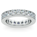 Channel Diamond Eternity Ring in White Gold (3 ctw) | Thumbnail 02