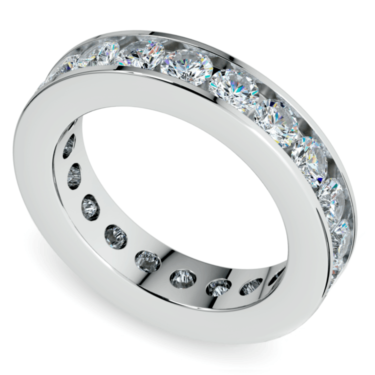 Channel Diamond Eternity Ring in White Gold (3 ctw) | 01