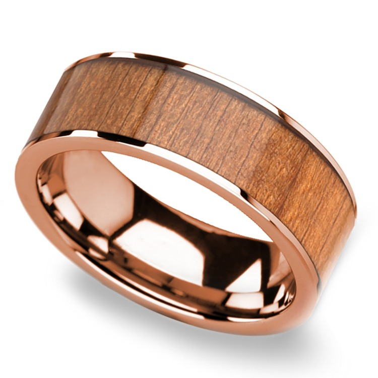 Cherry Wood Inlay Men's Flat Wedding Ring in Rose Gold | 01