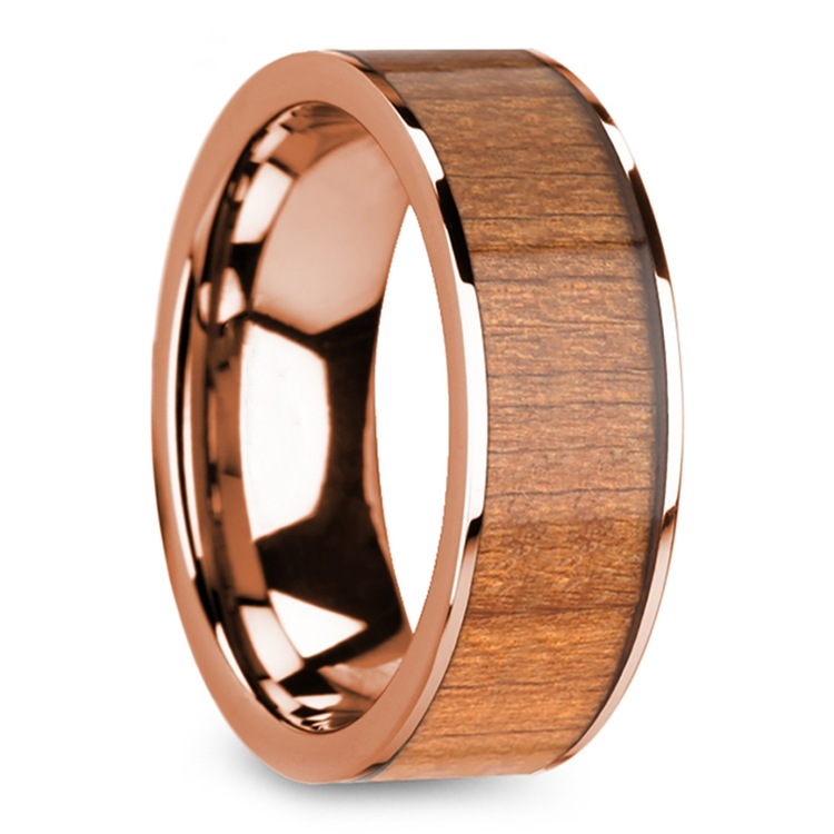 Cherry Wood Inlay Men's Flat Wedding Ring in Rose Gold | 02