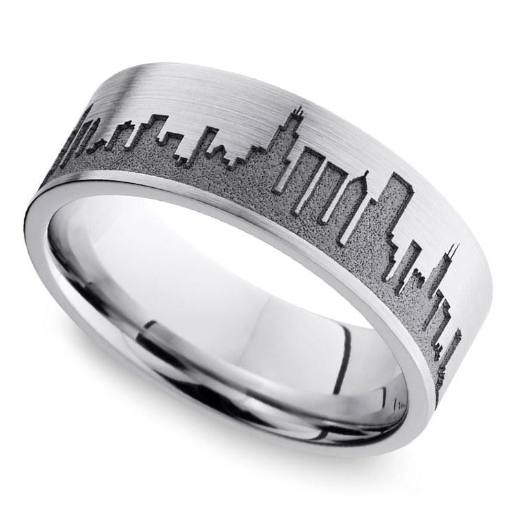 Chicago Skyline Mens Wedding Ring in Cobalt