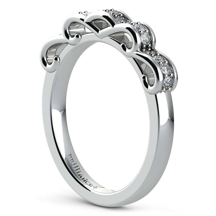 Cinderella Ribbon Diamond Wedding Ring in Platinum | 04