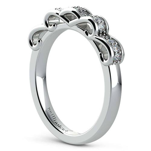 cinderella ribbon diamond wedding ring in white gold - Cinderella Wedding Ring